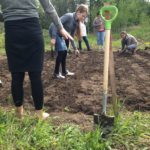 Students at Upper Halfway Elementary prepare their school garden for planting. A special thanks to the PRRD Rural Directors who sponsored Upper Halfway's Food Secure Kids program.