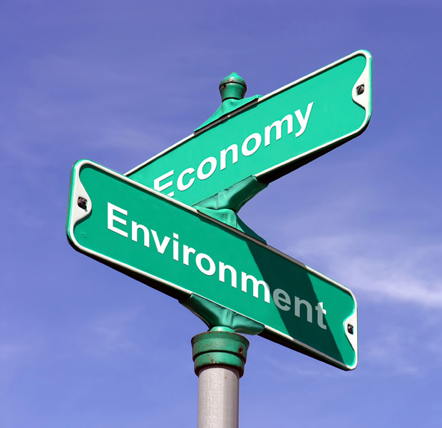 Economy street sign intersecting with environment street sign.